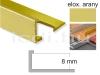 Eloxált arany Alu L élvédő profil 8 mm/ 250cm hosszú